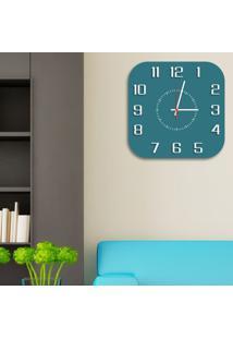 Relógio De Parede Decorativo Premium Quadrado Com Números Em Relevo Ágata Médio