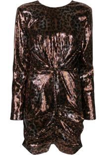 Msgm Leopard Print Sequin Dress - Marrom