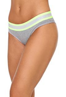 Calcinha Calvin Klein Underwear Tanga Canelada Cinza/Verde