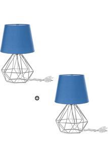 Kit 2 Abajur Diamante Dome Azul Com Aramado Cromado - Tricae