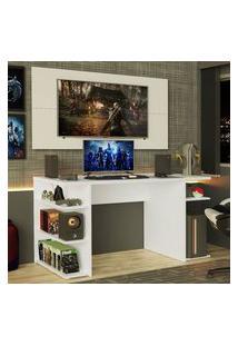 Mesa Para Computador Gamer E Painel Para Tv Até 50 Madesa Branco Branco