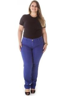 Calça Jeans Plus Size Confidencial Extra Cigarrete Feminina - Feminino-Azul