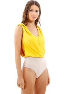 Body Bobô Scalea Alfaiataria Amarelo Feminino (Amarelo Medio, Gg)