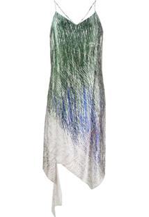 Off-White Slip Dress Com Estampa Gráfica - Azul