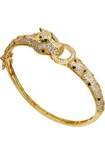 Bracelete Pantera Cravejada Cristais Banhado A Ouro 18K - Kanui