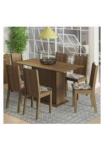 Conjunto Sala De Jantar Madesa Celeny Mesa Tampo De Madeira Com 6 Cadeiras Rustic/Floral Hibiscos