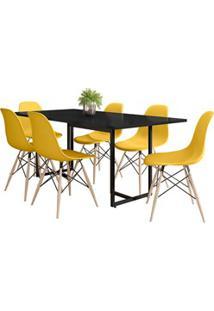 Mesa De Jantar Retangular Industrial 6 Cadeiras Eames Indy F02 Preto/A