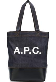 A.P.C. Bolsa Tote Com Logo - Azul