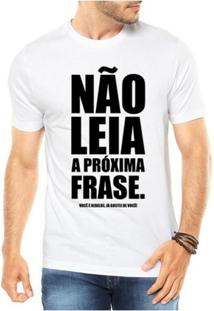 51253473fd125 ... Camiseta Criativa Urbana Frases Engraçadas Não Leia - Masculino-Branco