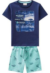 """Conjunto De Camiseta """"Wildlife"""" + Bermuda- Azul Marinho Milon"""