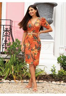 Vestido Floral Ferrugem Moda Evangélica