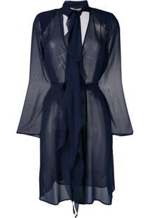 Max Mara Jaqueta Translúcida Com Cinto - Azul