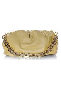 Bolsa Feminina Corrente Dourada Grossa Transversal Luxo Lançamento Blogueira Amarelo
