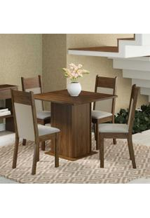 Conjunto Para Sala De Jantar Mesa E 4 Cadeiras Malibu Madesa Rustic/Sued Pérola