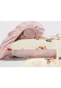 Jogo De Lençol Monterey Casal Queen 4 Peças Floral Rosê