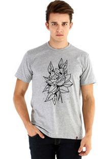 Camiseta Ouroboros Manga Curta Rosa Rústica Masculina - Masculino-Cinza