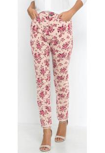 Calça De Sarja Floral Rosa