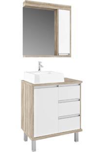 Gabinete Para Banheiro 70Cm Com 3 Gavetas Branco E Barrique - Branco/Marrom/Multicolorido - Dafiti
