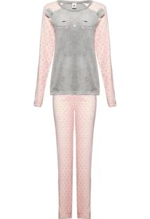 Pijama Feminino Longo Em Fleecê Com Orelhinhas