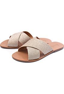 Sandália Casual Rasteira Touro Boots Feminina Dourada - Kanui