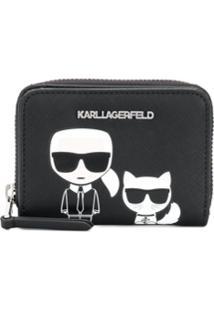 Karl Lagerfeld Carteira Com Zíper 'K/Ikonik' Pequena - Preto
