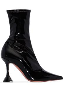 Amina Muaddi Ankle Boot Com Salto - Preto