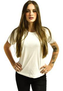 Camiseta Nakia Baby Look Gola Careca Básica Feminina Lisa Manga Curta Branco