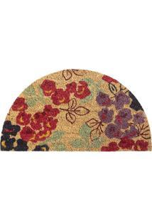 Capacho Semi Circular Floral- Vermelho & Bege- 70X40Agi Tapetes