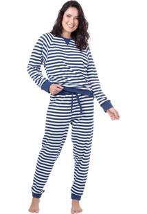 Pijama Longo Suedine Homewear Azul | 589.0710