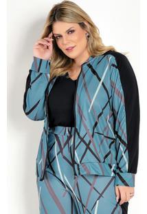 Jaqueta Azul Com Recortes E Zíper Plus Size
