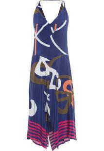 Vestido Feminino Seda Pontas Midi Córdova - Azul