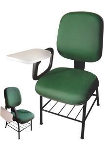 Cadeira Universitária Diretor Braço Escamoteável Em Tecido Verde Mq05 Pethiflex