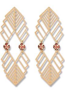Brinco Le Diamond Formas Geométricas E Cristal Rubi - Kanui