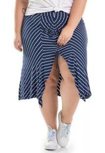 Saia Plus Size Malha De Viscose Com Fenda Listrada Miss Masy Plus Feminina - Feminino-Azul