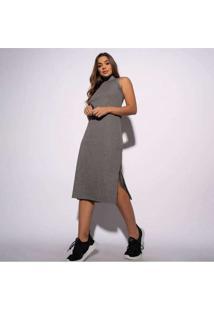 Vestido Canelado Mesclado Com Fenda Vt061 Cinza