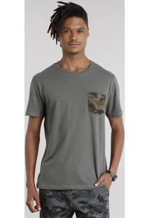 Camiseta Masculina Com Bolso Estampado Camuflado Manga Curta Gola Careca Verde Militar