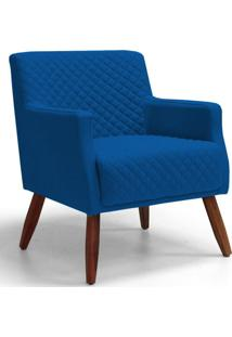 Poltrona Decorativa Para Sala De Estar E Recepção Diva Tressê Veludo Azul B-170 - Lyam Decor