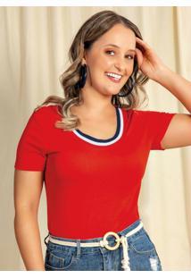 Blusa Feminina Básica Em Viscose Vermelho