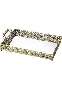 Bandeja Belle Epoque- Espelhada & Dourada- 22X47X26Clyor
