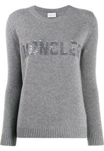 Moncler Suéter Com Logo De Paetês - Cinza