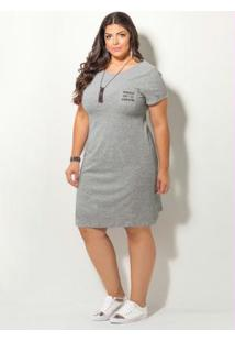 2076e6fa3 ... Vestido Com Bordado Quintess Mescla Plus Size