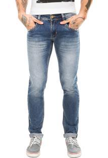 Calça Jeans Sawary Estonada Bigode Azul