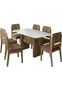 Conjunto De Mesa De Jantar Europa Amadeirado 1,59X0,80 C/ 6 Cadeiras Esmeralda Rv Móveis