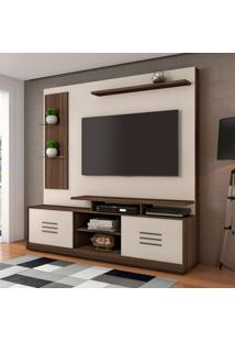 Estante Para Home Theater E Tv Até 60 Polegadas Samba Imbuia E Off White