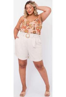 Shorts Almaria Plus Size Tal Qual Clochard Bege