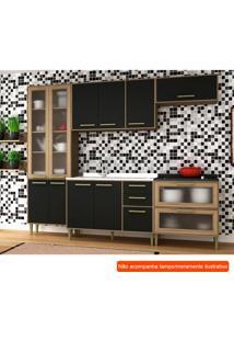 Cozinha Compacta Vitória 10 Pt 5 Gv Preta E Avelã