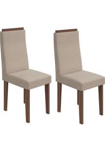 Conjunto De Cadeiras De Jantar 2 Dafne Linho Rovere E Creme