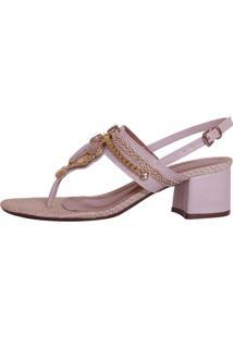 Sandália Week Shoes Salto Baixo Bege Rosa