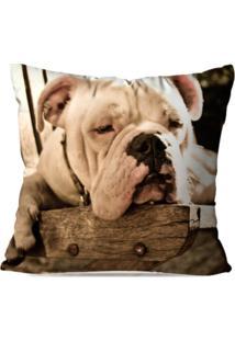 Capa De Almofada Avulsa Decorativa Bulldog Dormindo 45X45Cm