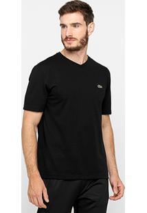 a5ac30d471 ... Camiseta Lacoste Gola V Masculina - Masculino-Preto